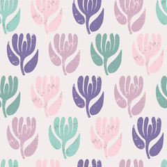 Fototapete - Seamless pattern with abstract flowers