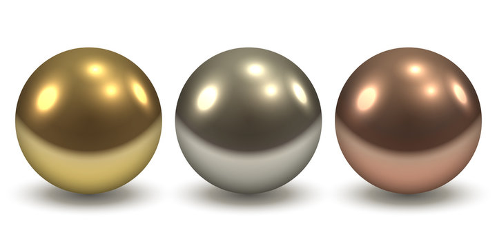 Gold, Silver and Copper Glossy Metal Balls