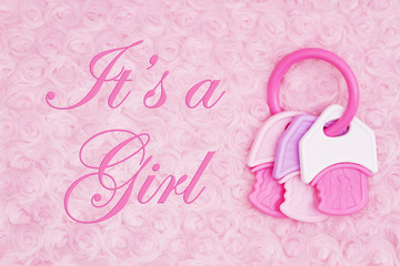 It's a Girl message with a teething ring on pale pink rose plush fabric