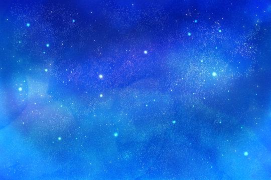 キラキラ光る幻想的な星空、宇宙の背景