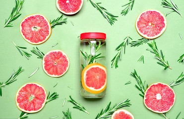 Rosemary and pink grapefruit infused water
