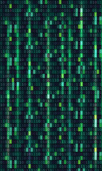 Binary code computer matrix background art design. Digits on screen. Abstract concept graphic data, technology, decryption, algorithm, encryption element - Vector