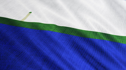 Navassa Island flag is waving 3D illustration. Symbol of Navassa Island national on fabric cloth 3D rendering in full perspective.
