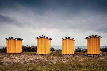 Yellow beach huts