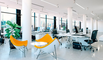 3d modern office interior render Fotobehang