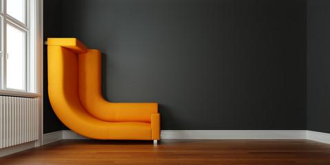 Sofa an Wand gebogen als Lösung für Platzproblem