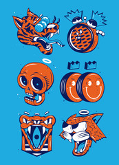 A Tiger, an alarm clock, a skeleton and smileys with a snake and a cat on blue background