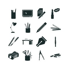 16 pencil icon set