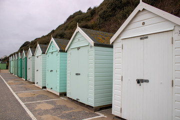 Beach huts on the beach in Bournemouth.