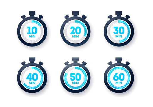 Vector Illustration 10 - 60 minutes Stopwatch Icon Collection. Flat Design Timer Set.