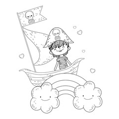 little pirate in boat with rainbow