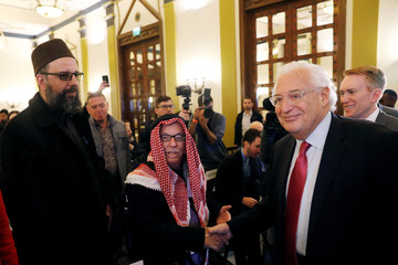 David Friedman, the U.S. Ambassador to Israel, arrives to speak at the Israeli-Palestinian International Economic Forum in Jerusalem
