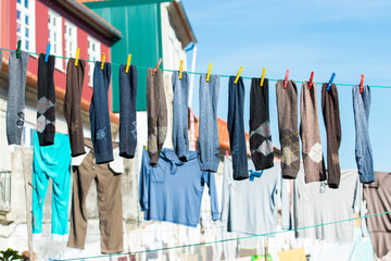 Clothes lying to dry in Portugal