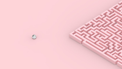 Maze Games Contemporary concept of business on Pastel Pink Background Fotoväggar