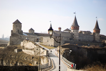 Foto op Canvas Ridders Old architecture and stones. Kamyanets Podilsky castle. Daily photos. Details of the castle. Wooden beams. Stone walls and fences. Towers and corridors. Patio.