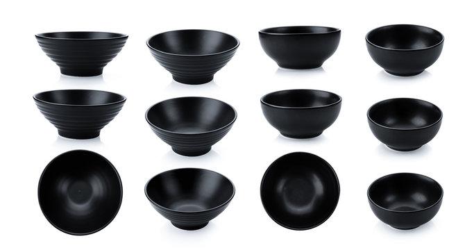 black bowl on white background
