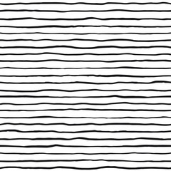 Brush hand drawn ink uneven textured stripes seamless vector pattern. Doodle style uneven bars, streaks, wavy lines with rough edges texture. Black and white elegant background. Border template.