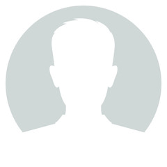 Abstract sign avatar men. Icon male profile. White symbol on gray circle background. Vector illustration