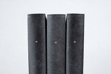 Three Black Books White Background