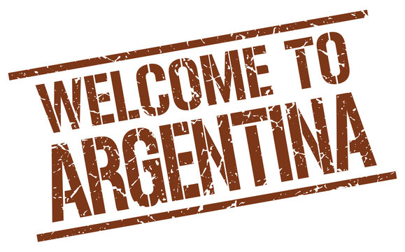 welcome to Argentina stamp