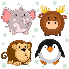 Set of beautiful circles icons from animals for design and kids, elephant, elk, monkey, chimpanzee, penguin.