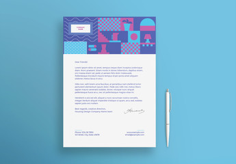 Letterhead Layout with Geometric Elements
