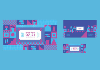 Social Media Cover and Post Layouts with Geometric Elements
