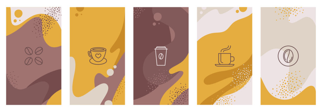 Vector set of abstract creative backgrounds with copy space for text and coffee lineart icons - design templates for instagram stories for coffee shop and house - simple, stylish and minimal designs f