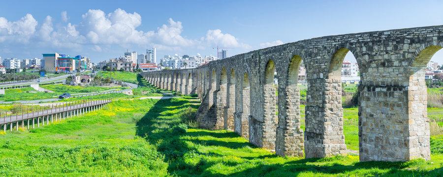 Panoramic view of Kamares aqueduct in Larnaca. Cyprus.