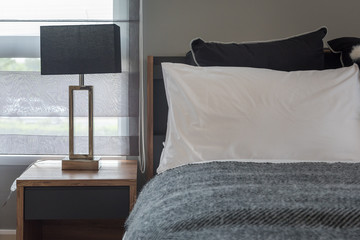 modern bedroom design in grey color