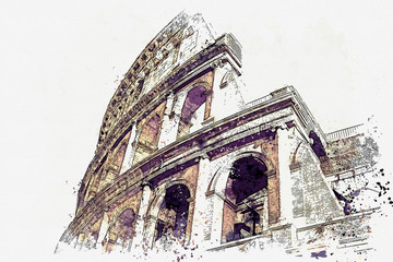 Watercolor sketch or illustration of a beautiful view of the Colosseum in Rome in Italy Fototapete