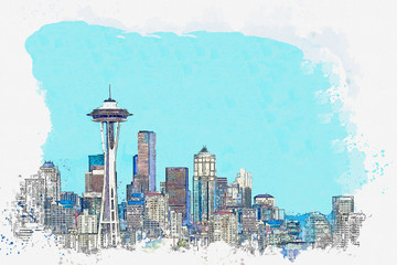 Watercolor sketch or illustration of a beautiful view of Seattle in America. Cityscape or urban skyline Wall mural
