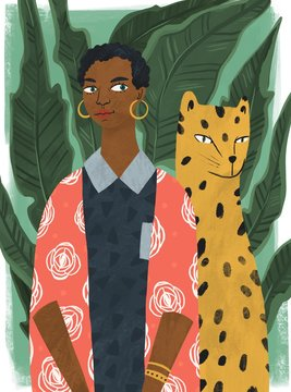 Beautiful stylish black woman with leopard and big leaves on background. Hand drawn colorful illustration