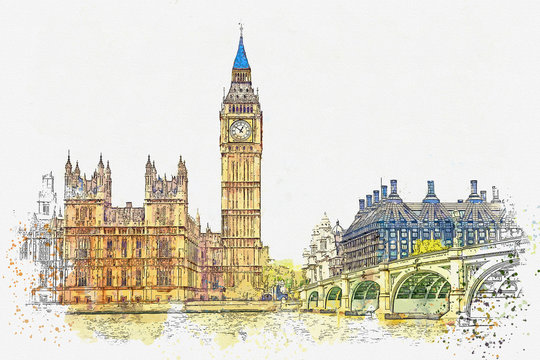 Watercolor sketch or illustration of a beautiful view of the Big Ben and the Houses of Parliament in London in the UK