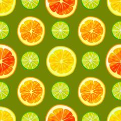 Dark Citrus Colorful Pattern in Cartoon Style