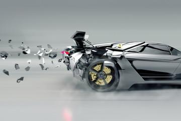 Sportwagen löst sich auf (3D Rendering)
