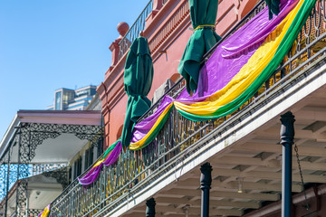 Balconies of New Orleans, decorated on Mardi Gras event, Louisiana Wall mural