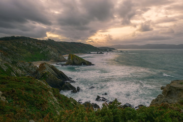 Rocky coast of great geological and mineralogical wealth in the north of Galicia