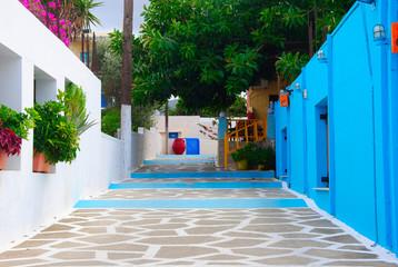 blue greek alley in Sissi on Crete in Greece
