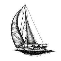 Ship sailing yacht boat antique vintage antique black ink hand drawing