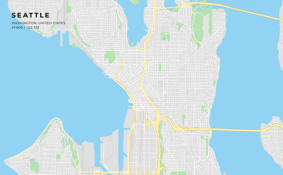 Printable street map of Seattle, Washington