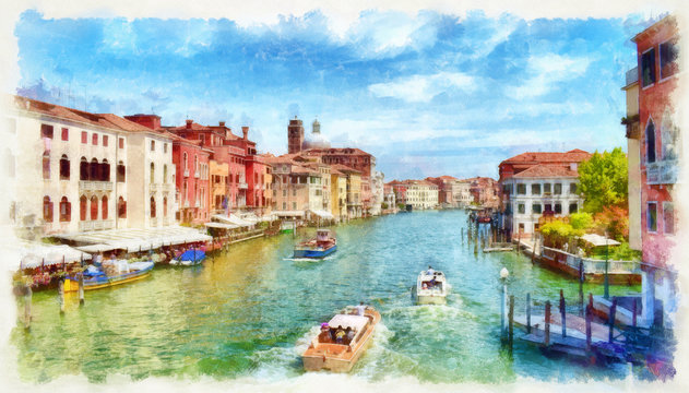 Venetian Grand Canal with boats, watercolor painting