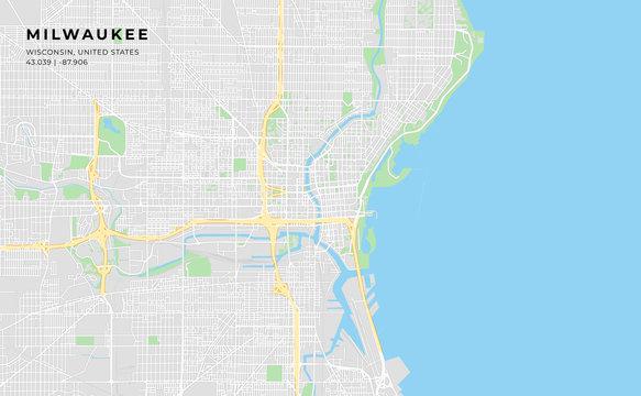 Printable street map of Milwaukee, Wisconsin
