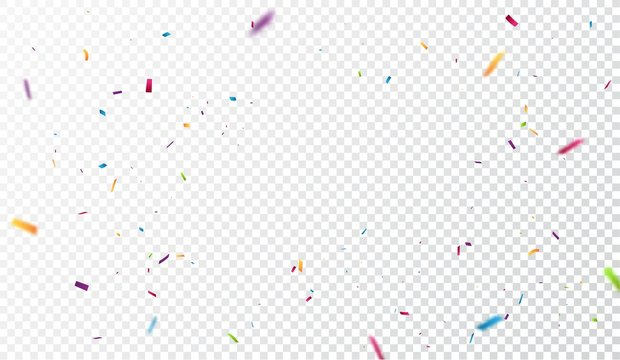 Colorful confetti on transparent background
