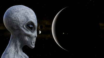 Illustration of a gray alien in the foreground with planets and moons in the background.
