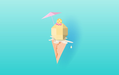 3D Paper art of  Ice cream  with cherry and lemon on the top vanilla cone melting on blue background.Vanilla Cream Melted in Wafer Background .Colorful pop of card or poster.summer season vector