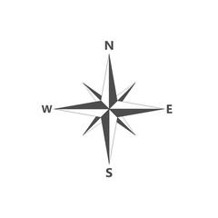 Compass, navigition icon. Vector illustration, flat design.Vector illustration, flat design.