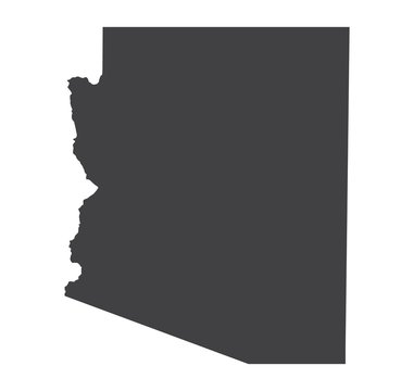 Vector Arizona Map silhouette. Isolated vector Illustration. Black on White background.