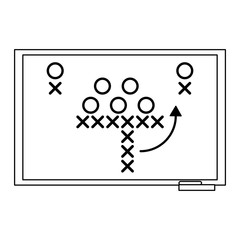 American football strategy on blackboard black and white