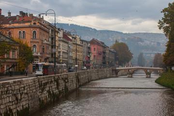 View on Latin Bridge is an Ottoman bridge over the river Miljacka in Sarajevo, Bosnia and Herzegovina.